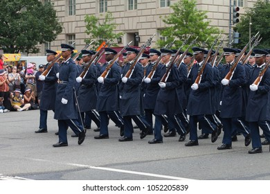 Washington, D.C., USA - July 4, 2015, The National Independence Day Parade is the  Fourth of July Parade in the capital of the United States, it  commemorates the of the Declaration of Independence.