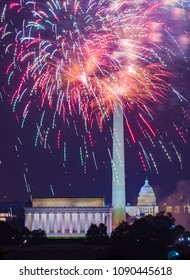 WASHINGTON, DC, USA - JULY 4, 2009: Independence Day fireworks above monuments on National Mall.