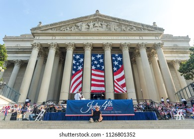 Washington, DC / USA - July 4, 2018: people arrive early at the National Archives to watch the 4th of July festivities in Washington, DC.