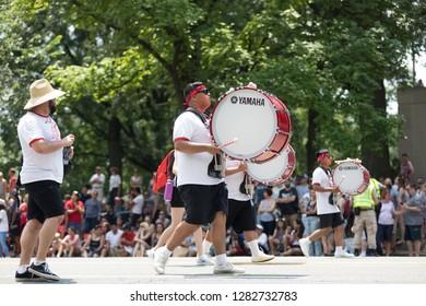 Washington, D.C., USA - July 4, 2018, The National Independence Day Parade, The Santa Maria High School Band and Colorguard, from Santa Maria, California
