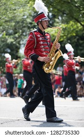 Washington, D.C., USA - July 4, 2018, The National Independence Day Parade, The Bulldog Marching Band and Colorguard from Bedford High School, New Hampshire