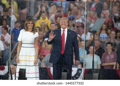 "Washington DC, USA/ July 4 2019: President Donald Trump and First Lady Melania Trump enter the July 4th ""Salute to America"" celebration at the Lincoln Memorial on Thursday July 4, 2019"