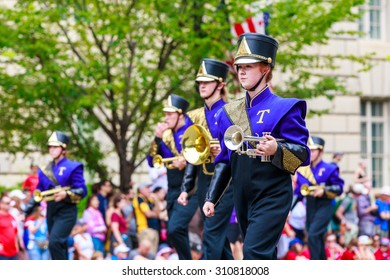 Washington, D.C., USA - July 4, 2015: Taylorville High School Tornado Marching Band in the annual National Independence Day Parade 2015.