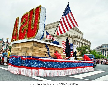 Washington, D.C / USA - July 4th 2016: Colourful floats such as this USA Float are a highlight of the annual Independence Day Parade in Washington D.C