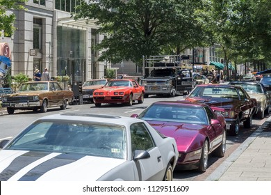 Washington, DC / USA - July 8, 2018: Wonder Woman 1984 is filming in downtown Washington, DC.
