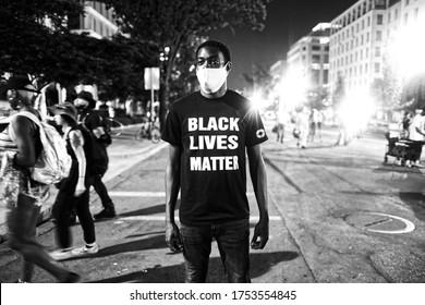 Washington D.C. / U.S.A. - Jun 9th 2020: Black Lives Matter Protests, Washington D.C., at Black Lives Matter Plaza