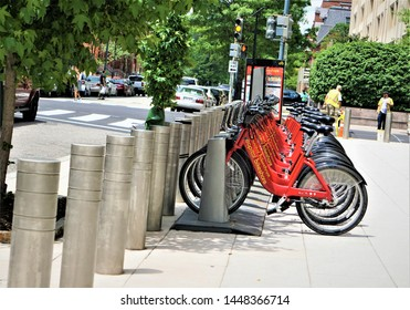 Washington, D.C ,USA - June 06,2018 ; Public rental Red CAPITAL BIKESHARE lined up in down town in Washington, D.C. United States.