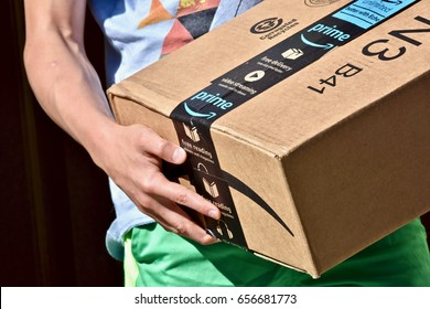 WASHINGTON DC, USA - JUNE 08, 2017: An Amazon Prime package delivered to a residential home.