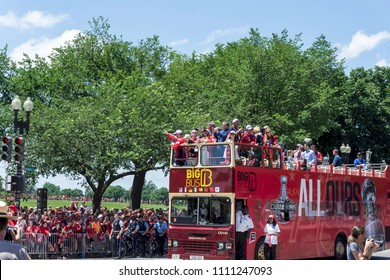 Washington, DC /USA - June 12, 2018: The Washington Capitals had a parade through Downtown Washington, DC to celebrate winning the NHL Stanley Cup.