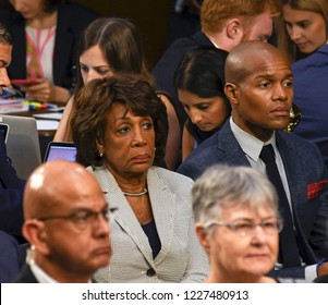 Washington DC, USA, June 13, 2017  Congresswoman Maxine Water is seated behind Mary Sessions the wife of Attorney General Jeff Sessions during his testimony before the Senate Intelligence Committee