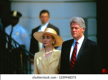Washington, DC. USA, June 13, 1994 First Lady Hillary Clinton and President Bill Clinton stand at the South Diplomatic entance to the White House as they await the Emperor Akihito and Empress of Japan