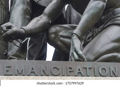 Washington, DC / USA - June 17, 2020: A statue of President Lincoln standing over a freed black slave is the latest statue that is the subject of community action to remove it.