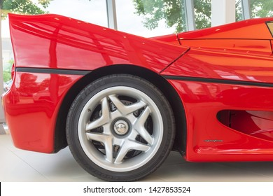 Washington, DC /USA - June 18, 2019: A rare, one of 349 reportedly ever made, Ferrari F50 supercar from 1997 is for sale at Ferrari of Washington, DC.