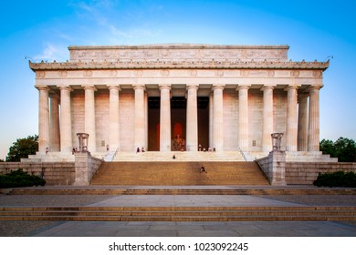 WASHINGTON DC, USA - JUNE 20: The historic architecture of the Lincoln Memorial in Washington DC, USA with its Greek columns style and tourist visiting it on June 20, 2016.