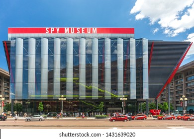 Washington, DC / USA - June 22, 2019: The International Spy Museum is doing record business at its new location, with lines extending out the front door this summer in Washington, DC.