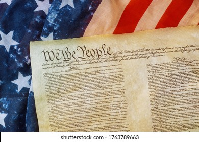 WASHINGTON D.C., USA - JUNE 25, 2020: Closeup of a replica of U.S. Constitution document of grunge American flag on We the people Bill of Rights