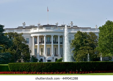 WASHINGTON DC, USA - JUNE 26, 2016: The White House in Washington DC. The White House is the primary office and residence of the US president.