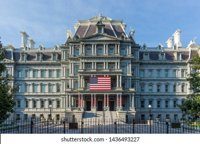 Washington, DC / USA - June 28, 2019: The Eisenhower Executive Office Building, which is next door to the White House, is decorated for the Fourth of July celebrations in Washington, DC.