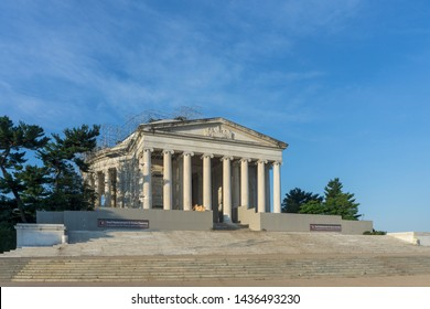 Washington, DC / USA - June 28, 2019: The Jefferson Memorial is undergoing a long-needed roof cleaning and repair.