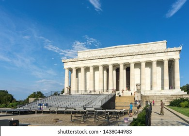 Washington, DC / USA - June 30, 2019: Preparations are well under way at the Lincoln Memorial for the new 4th of July celebration with the president this year.