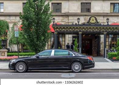 Washington, DC / USA - June 5, 2018: The President's tariffs could mean the end of importation into the USA of German automobiles such as this luxury  vehicle.