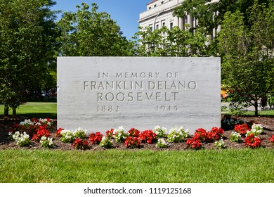 Washington DC, USA - June 5, 2018: Franklin Delano Roosevelt Memorial Gardens on Pennsylvania Avenue