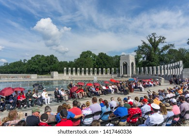 Washington, DC /USA - June 6, 2019: A ceremony was held at the National World War II Memorial in Washington, DC to commemorate the 75th anniversary of D-Day.