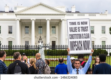 Washington DC, USA - June 7th 2019: Protester in favor of Trump's impeachment in front of the white house