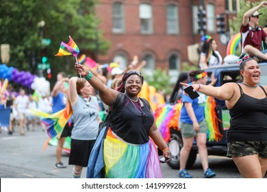 Washington, D.C. / USA - June 8, 2019: The Capital Pride Parade takes place every year on a Saturday in June between Dupont Circle and Logan Circle.