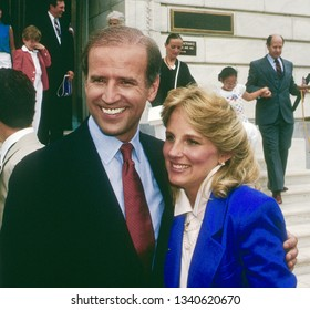 Washington, DC. USA, June 9, 1987  Senator Joe Biden after announcing his candidacy for president earlier in the morning, with his wife Doctor Jill Biden outside the Dirksen Senate officr building