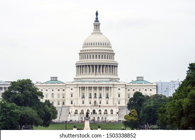 Washington DC, USA - June 9, 2019: Back view of the Capitol Building for The United States of America