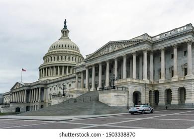 Washington DC, USA - June 9, 2019: United States Capitol Building east facade.