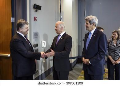 WASHINGTON D.C., USA - Mar 31, 2016: US Vice President Joe Biden during a meeting with President of Ukraine Petro Poroshenko in Washington