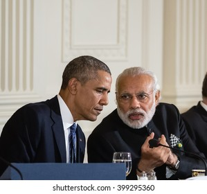 WASHINGTON D.C., USA - Mar 31, 2016: Nuclear Security Summit. United States President Barack Obama talks with Prime Minister of India Narendra Damodardas Modi