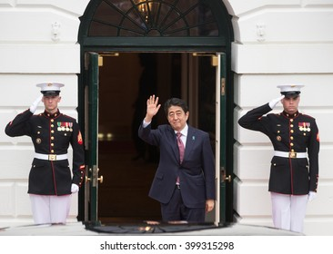 WASHINGTON D.C., USA - Mar 31, 2016: Nuclear Security Summit. Japanese Prime Minister Shinzo Abe welcomes the participants and guests of the summit