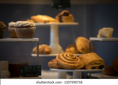 Washington, D.C. / USA - March 1, 2019: Baked goods and small food items are for sale at a Starbucks Coffeehouse in Adams Morgan / Woodley Park.
