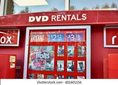 WASHINGTON DC, USA - MARCH 12, 2017: A Redbox movie rental kiosk displaying the latest DVD and blu Ray movie rentals.