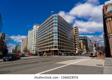 WASHINGTON DC, USA - MARCH 13, 2018: Intersection of Pennsylvania Ave NW and 17th NW Street in Washington DC, USA.