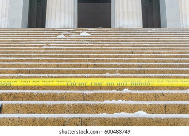 WASHINGTON, DC, USA - March 14, 2017: The Lincoln Memorial is closed due to ice from winter storm Stella.