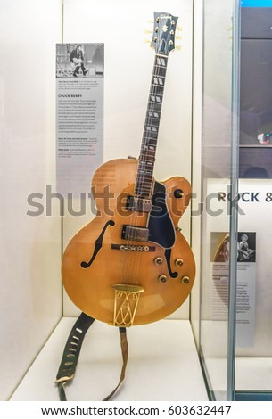 WASHINGTON, DC, USA - March 18, 2017: One of Chuck Berry's Gibson guitars is on display at the National Museum of African American History and Culture after his death at age 90.