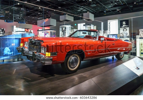 Washington, DC, USA -- March 18, 2017: Chuck Berry's red Cadillac el Dorado is on display at the National Museum of African American History and Culture after his death at age 90.