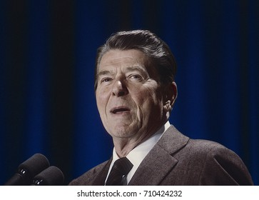 Washington DC. USA,  March, 1985 President Ronald Reagan portrait
