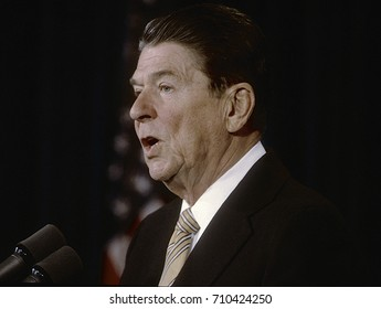 Washington DC. USA,  March, 1985 President Ronald Reagan portrait