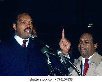 Washington DC., USA,  March 1988 Reverand Jesse Jackson tours a drug infested area of DC with Mayor Marin Barry and DC congressman Walter E. Fauntroy.