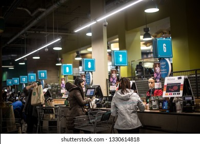 Washington, D.C. / USA - March 2, 2019: Whole Foods Market in Friendship Village, Chevy Chase, is a supermarket chain which sells products free from hydrogenated fats and artificial flavors.
