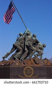 WASHINGTON DC, USA - MARCH 21, 2015: Marine Corps War Memorial at sunset on March 21, 2015 in Washington DC. The Iwo Jima Memorial located near Arlington Cemetery.