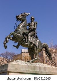 WASHINGTON, DC, USA - MARCH 23, 2009: Statue of Andrew Jackson on horseback in Lafayette Park.