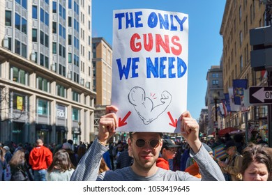 Washington, DC / USA - March 24, 2018: marchers of all kinds attend the March For Our Lives in Washington, DC.