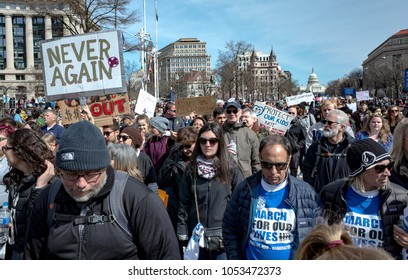 Washington, DC / USA - March 24, 2018 - March for Our Lives protesters demand action to end gun violence.