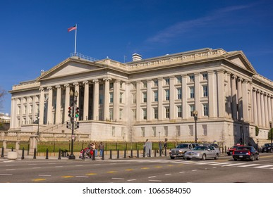 WASHINGTON, DC, USA - MARCH 24, 2009: United States Treasury building exterior.